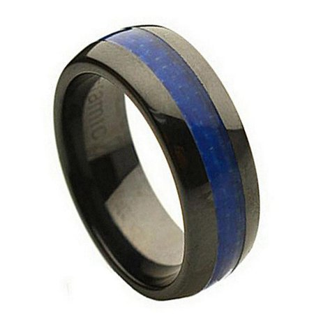 8mm Ceramic Domed Black with Blue Carbon Fiber Inlay Wedding Band Ring For Men and Ladies