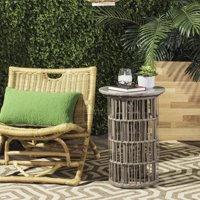 Safavieh Fane Indoor/Outdoor Modern Concrete Rattan Side Table