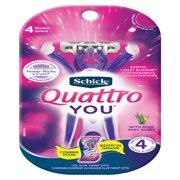 Schick Quattro YOU Exotic Violet Blooms Disposable Razor for Women, 4 Count