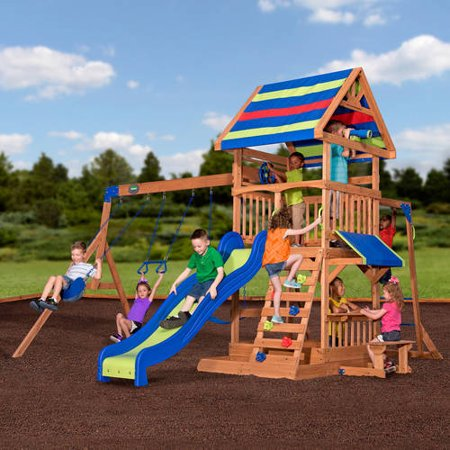 Backyard Discovery Beach Front Wooden Cedar Swing Set Walmart Com