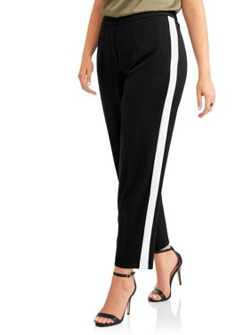 Women's Plus Stretch Crepe Fashion Career Pant with Side Stripe Panel