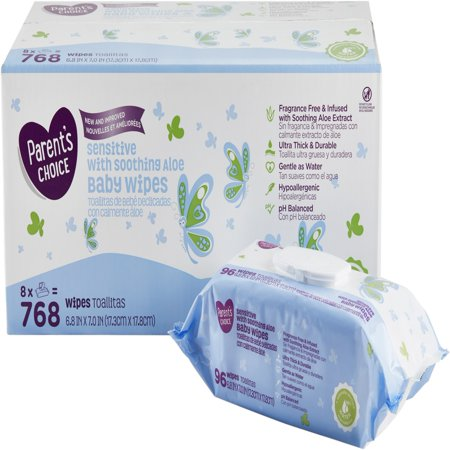 Parent's Choice Sensitive with Soothing Aloe Baby Wipes, 8 packs of 96 (768 count)