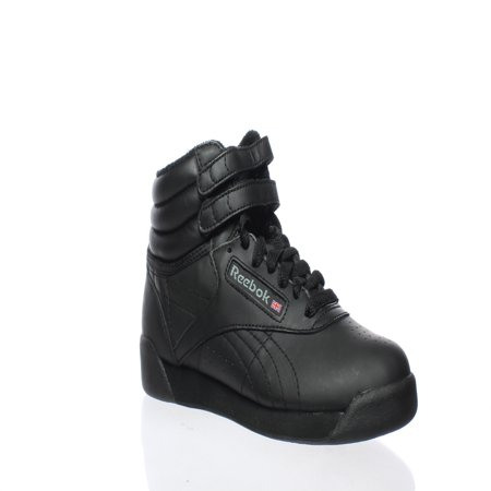 Reebok Womens Freestyle Hi Black Leather Fashion Sneakers