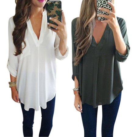 4166811742eaf9 EFINNY Plus Size S-3XL Women's Blouse Casual Loose Chiffon Long Sleeve Deep  V T Shirt