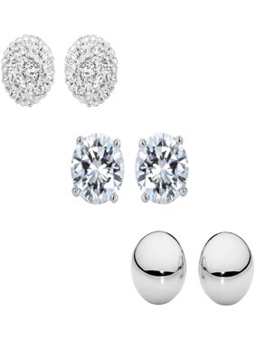 PORI Jewelers Sterling Silver 6mm CZ, Austrian Crystal Pave and Plain Polished Ball Stud Earrings Set