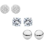 d71365673 Sterling Silver 6mm CZ, Austrian Crystal Pave and Plain Polished Ball Stud  Earrings Set