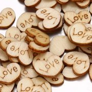 Rustic Wooden Love Heart Crafts Wedding Table Scatter Decoration (100pcs)