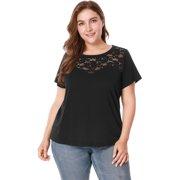 f0eda623de99 Women's Plus Size Lace Panel Round Neck Short Sleeve Top Blouse Shirt