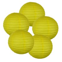 """Just Artifacts 14"""" Lemon Yellow Paper Lanterns (Set of 5) - Decorative Round Paper Lanterns for Birthday Parties, Weddings, Baby Showers, and Life Celebrations"""