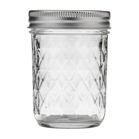 Ball Quilted Crystal Mason Jar w/ Lid & Band, Regular Mouth, 8 Ounces, 12 Count - Pokemon Jelly Jars