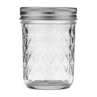 Ball Quilted Crystal Half-Pint 8Oz Mason Jars w/Lids & Bands, 12 Count
