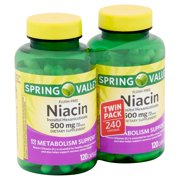 Spring Valley Flush-Free Niacin Inositol Hexanicotinate Capsules Twin Pack, 500 mg, 240 count