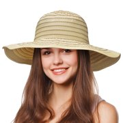 Tirrinia Floppy Straw Sun Hat for Women Striped Foldable Beach Cap with  Wide Brim 0282bbceb50