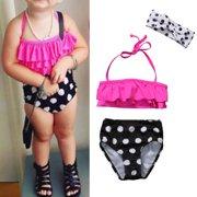 0fba116072 3Pcs Toddler Kids Baby Girls Toddler Polka Dots Swimsuit Swimwear Bathing  Suit Tankini Bikini Set