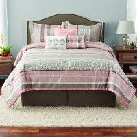 Mainstays Full or Queen Jacquard Multi-Color Stripe Comforter Set, 7 Piece