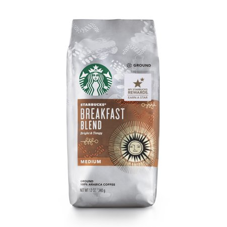 Coffee Breakfast Set - Starbucks Breakfast Blend Medium Roast Ground Coffee, 12-Ounce Bag