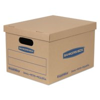"""SmoothMove BankersBox Classic Moving Boxes, Small, 10"""" x 12"""" x 15"""", 10 Count"""