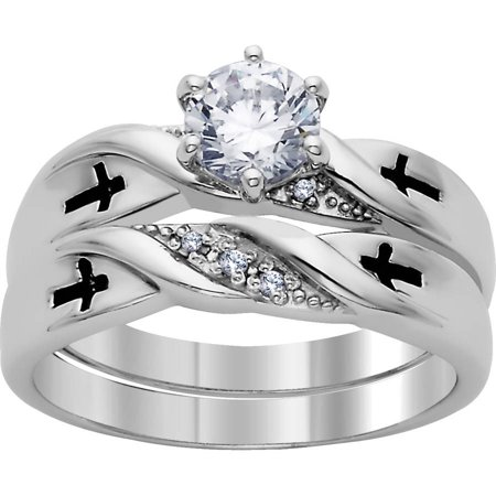 Platinum Plated Silver CZ and Genuine Diamond Cross 2-Piece Wedding Set
