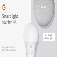 Google Smart Light Starter Kit - Google Home Mini and GE C-Life Smart Light Bulb