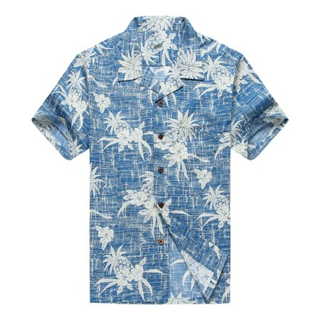 Hawaiian Shirt Aloha Shirt in Vintage Blue Pineapple - Kids Hawaiian Shirts