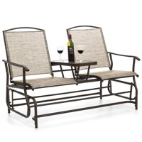 Best Choice Products 2-Person Outdoor Mesh Fabric Patio Double Glider w/ Tempered Glass Attached Table (Tan)
