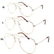 84bdf988d4 XL Classic Vintage Retro Aviator Clear Lens Gold Metal Frame Eyeglasses  Glasses