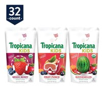 Tropicana Kids Organic Juice Drink Pouches, Variety Pack, 5.5 oz Pouches, 32 Count