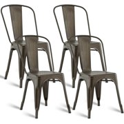 92020fdbb58a Costway Set of 4 Dining Side Chair Stackable Bistro Cafe Metal Stool Vintage