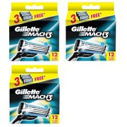 Gillette Mach3 Refill Razor Blade Cartridges, 12 Count (Pack of 3)