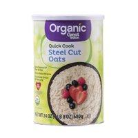 (4 Pack) Great Value Organic Steel Cut Oats Oatmeal, 24 Oz