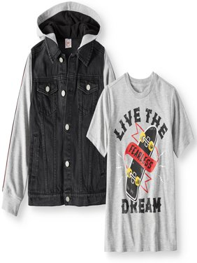 Hooded Denim Jacket with Graphic Tee, 2-Piece Set (Little Boys, Big Boys, & Husky)