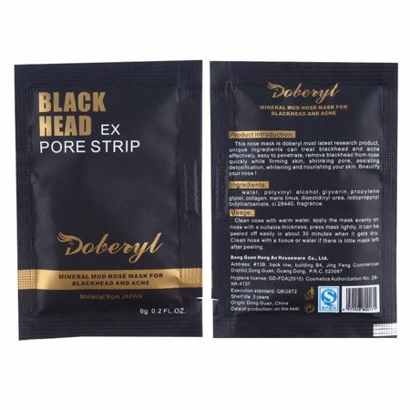 Doberyl Single Use Mineral Mud Mask Black Head Ex Pore Strip Acne Deep Cleanser Peel Off Cleansing Face Mask Nose Strip BlackHead Remover Travel Size [2 (Best Way To Reduce Pore Size On Face)