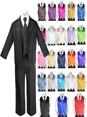 7pcs Baby Boy Teen Formal Wedding Party Black Tuxedo Suits Vest Necktie Set S-20