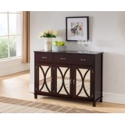 Luke Espresso Wood Contemporary Sideboard Buffet Server Console Table With Storage Drawers & Mirrored Cabinet Doors