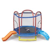 Little Tikes Climb 'n Slide 7-Foot Trampoline, with Enclosure, Blue