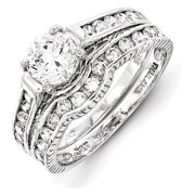 Sterling Silver Rhodium-plated 2-Piece CZ Size 6  Wedding Set Ring Size 6