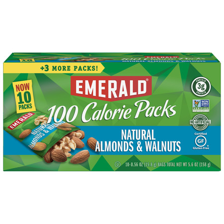 Emerald Nuts Natural Walnuts and Almonds, 100 Calorie Packs, 10 Ct 100 Calorie Snack Pack