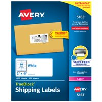 "Avery Shipping Labels, Sure Feed Technology, Permanent Adhesive, 2"" x 4"", 1,000 Labels (5163)"