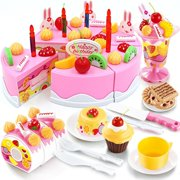 Birthday Cake Play Food Set PINK 75Pcs Plastic Kitchen Cutting Toy Pretend Play