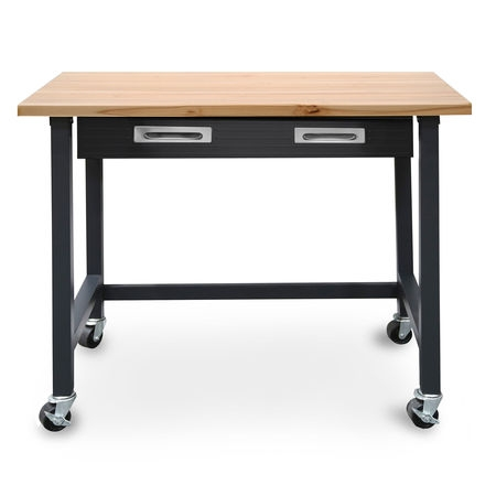 Commercial Heavy-Duty Wood Top Workbench with Drawer on Wheels by Seville