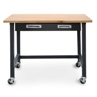 Commercial Heavy-Duty Wood Top Workbench with Drawer on Wheels by Seville Classics