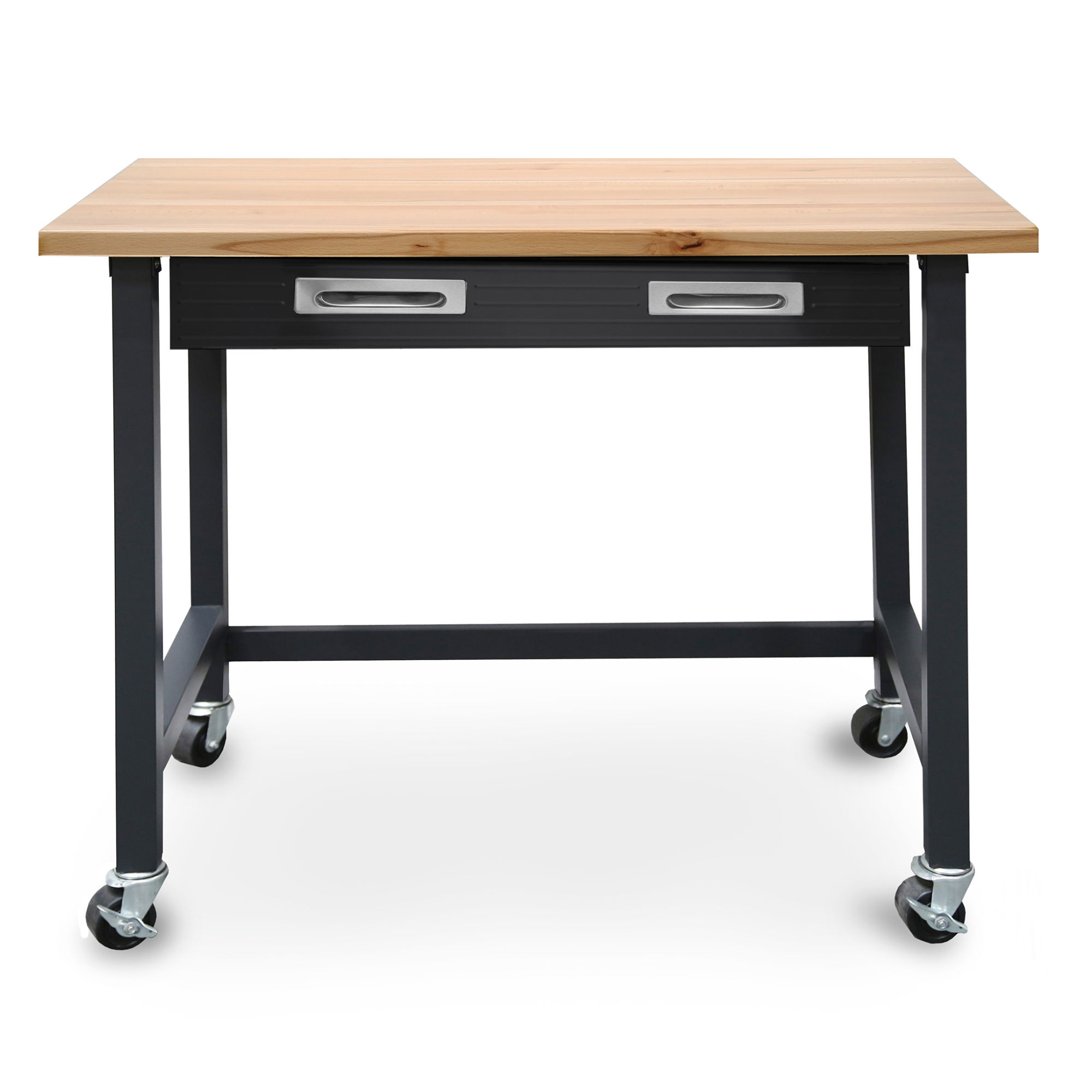 Superb Commercial Heavy Duty Wood Top Workbench With Drawer On Wheels By Seville  Classics