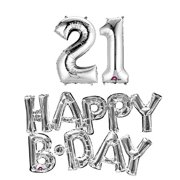 21st Birthday Party Balloons Supplies And Decorations In Silver