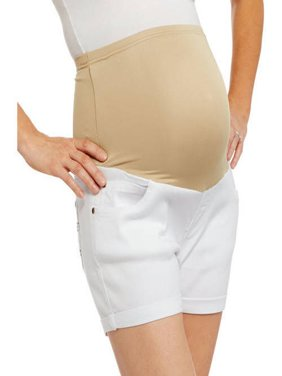 Maternity Full Panel Stretch Twill Shorts with 5 Pockets and Roll Cuffs-- Available In Plus Size