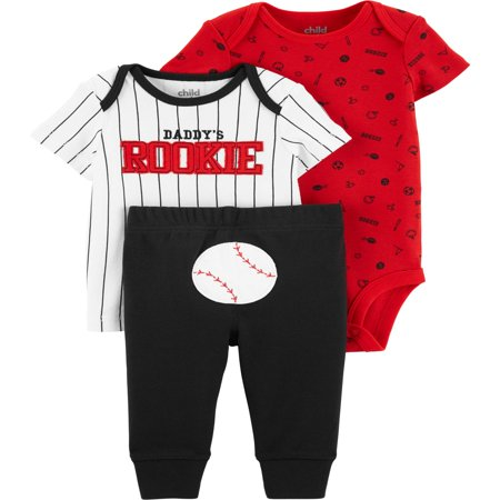 Short Sleeve T-Shirt, Bodysuit, and Pants, 3 Piece Outfit Set (Baby Boys) Baby Boy Fresh Cookies
