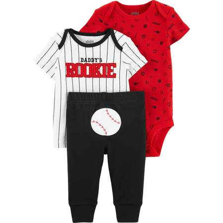 Short Sleeve T-Shirt, Bodysuit, and Pants, 3 Piece Outfit Set (Baby Boys) - Toddler Boy Valentine Outfit