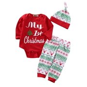 488225e49 Newborn Baby Boys Girls First Christmas Clothes Romper Pants Hat Outfit Set  3PCS
