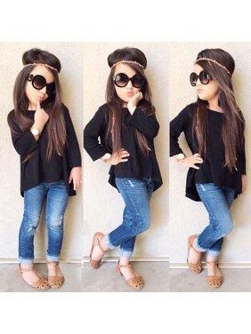 Kids Baby Girl Children Black Top T Shirt + Jeans Demin Pants Outfit Set Clothes 1-6Y