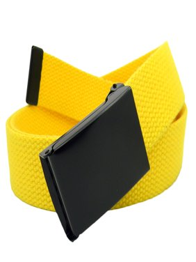 Men's Black Flip Top Military Belt Buckle with Canvas Web Belt Medium Yellow