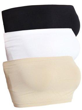 TheMogan Women's 3PCS Basic Layering Seamless Bra Top Simple Tube Bandeau